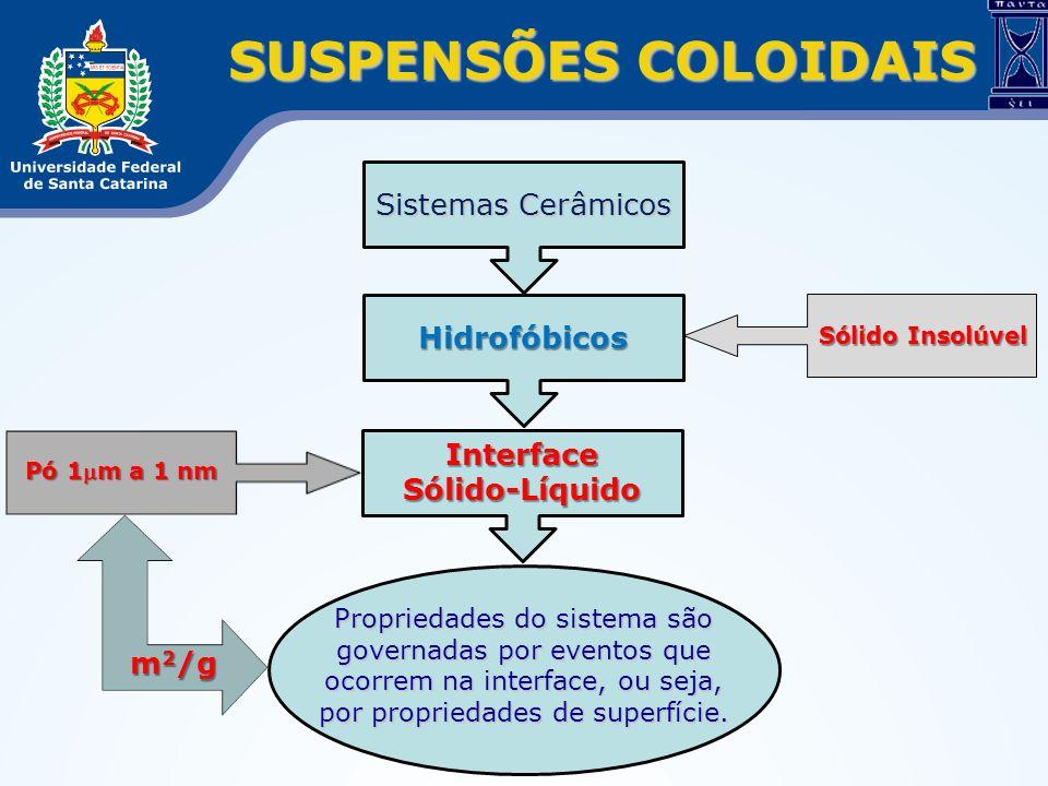SUSPENSÕES COLOIDAIS Hidrofóbicos Sistemas Cerâmicos Propriedades do sistema são governadas por eventos que ocorrem na interface, ou seja, por proprie