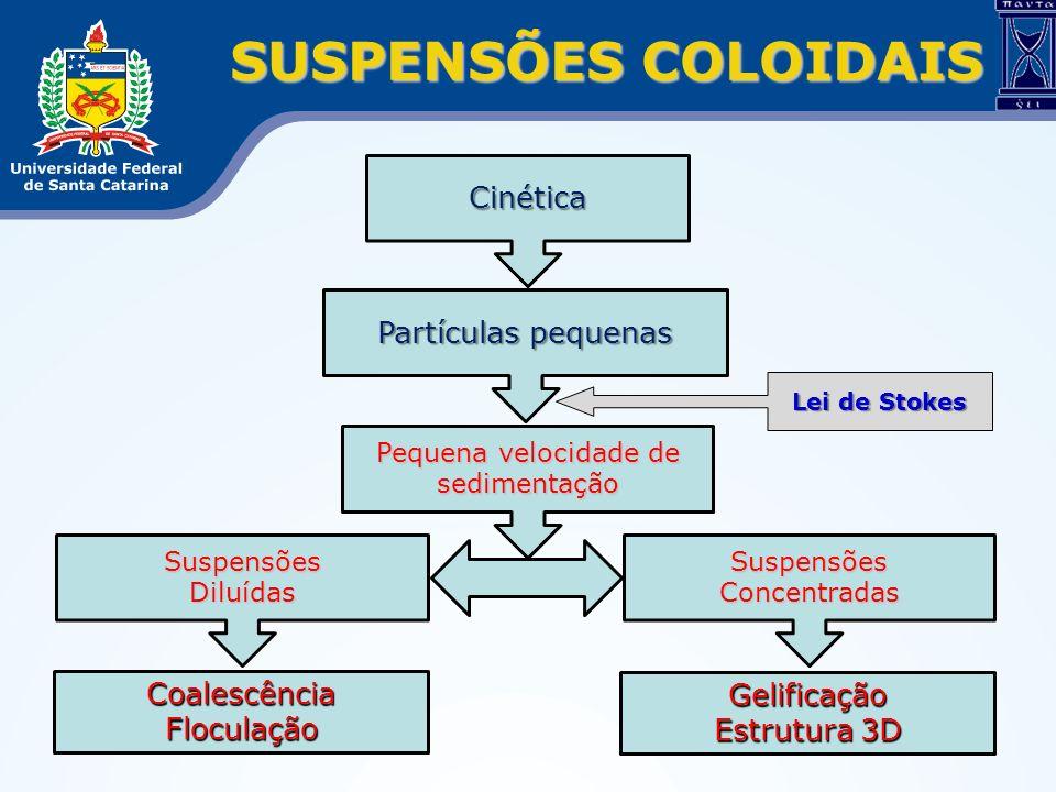 SUSPENSÕES COLOIDAIS Partículas pequenas Cinética Pequena velocidade de sedimentação Lei de Stokes Suspensões Concentradas SuspensõesDiluídas Coalescê