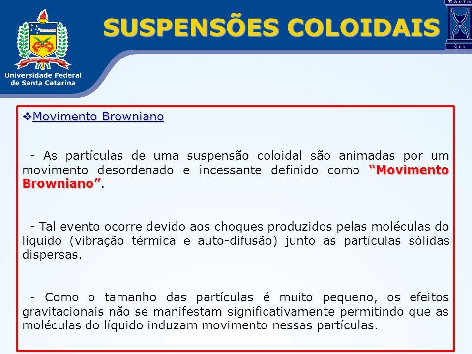 SUSPENSÕES COLOIDAIS Movimento Browniano Movimento Browniano Movimento Browniano - As partículas de uma suspensão coloidal são animadas por um movimen