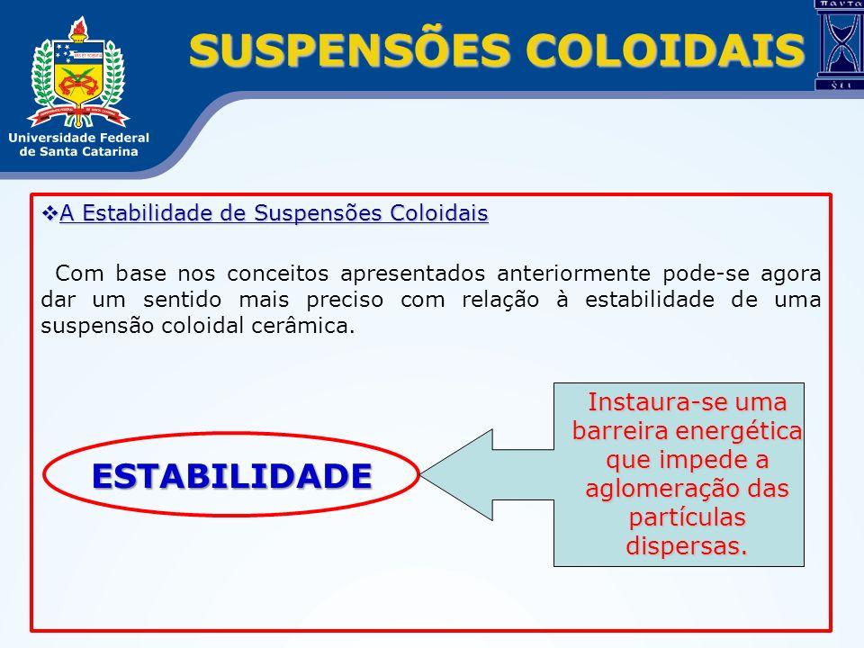 SUSPENSÕES COLOIDAIS A Estabilidade de Suspensões Coloidais A Estabilidade de Suspensões Coloidais Com base nos conceitos apresentados anteriormente p