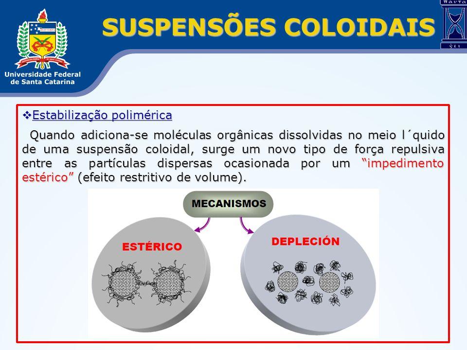 SUSPENSÕES COLOIDAIS Estabilização polimérica Estabilização polimérica Quando adiciona-se moléculas orgânicas dissolvidas no meio l´quido de uma suspe