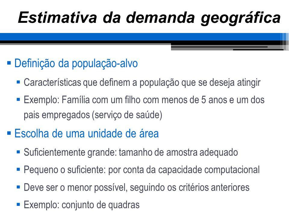 Estimativa da demanda geográfica Definição da população-alvo Características que definem a população que se deseja atingir Exemplo: Família com um fil