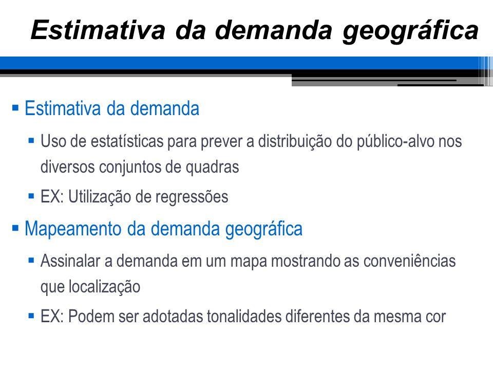 Estimativa da demanda geográfica Estimativa da demanda Uso de estatísticas para prever a distribuição do público-alvo nos diversos conjuntos de quadra