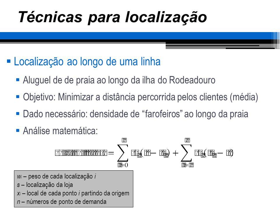 Técnicas para localização Localização ao longo de uma linha Aluguel de de praia ao longo da ilha do Rodeadouro Objetivo: Minimizar a distância percorr