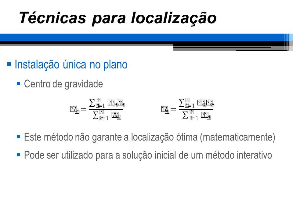 Técnicas para localização Instalação única no plano Centro de gravidade Este método não garante a localização ótima (matematicamente) Pode ser utiliza