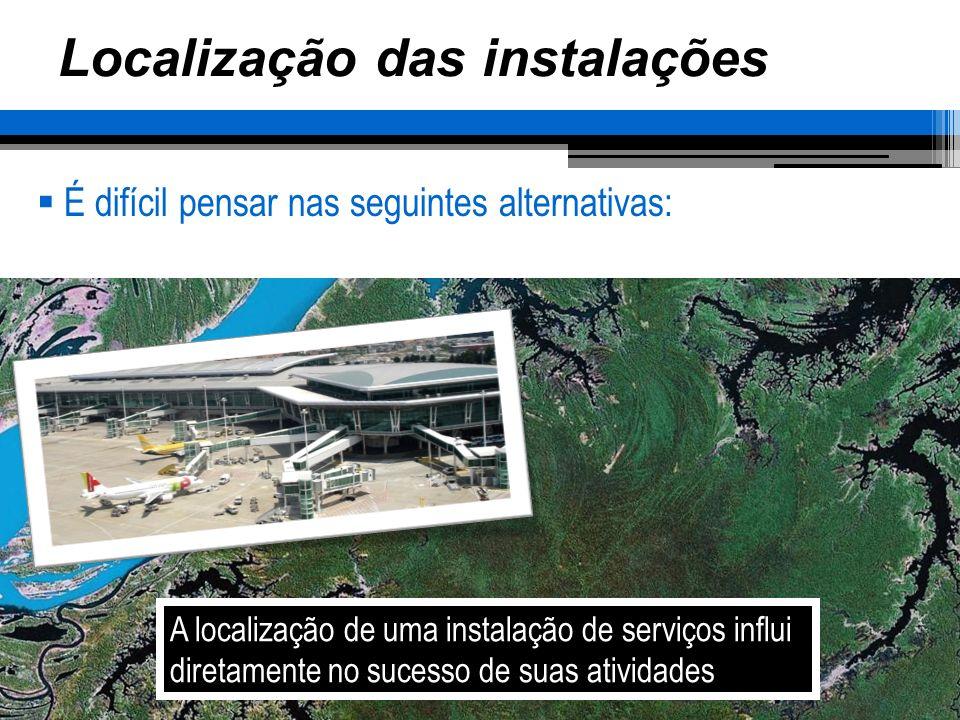 Localização das instalações Considerações para a seleção da localização Acesso Visibilidade Expansão Ambiente Governo Mão-de-obra As imediações devem completar o serviço