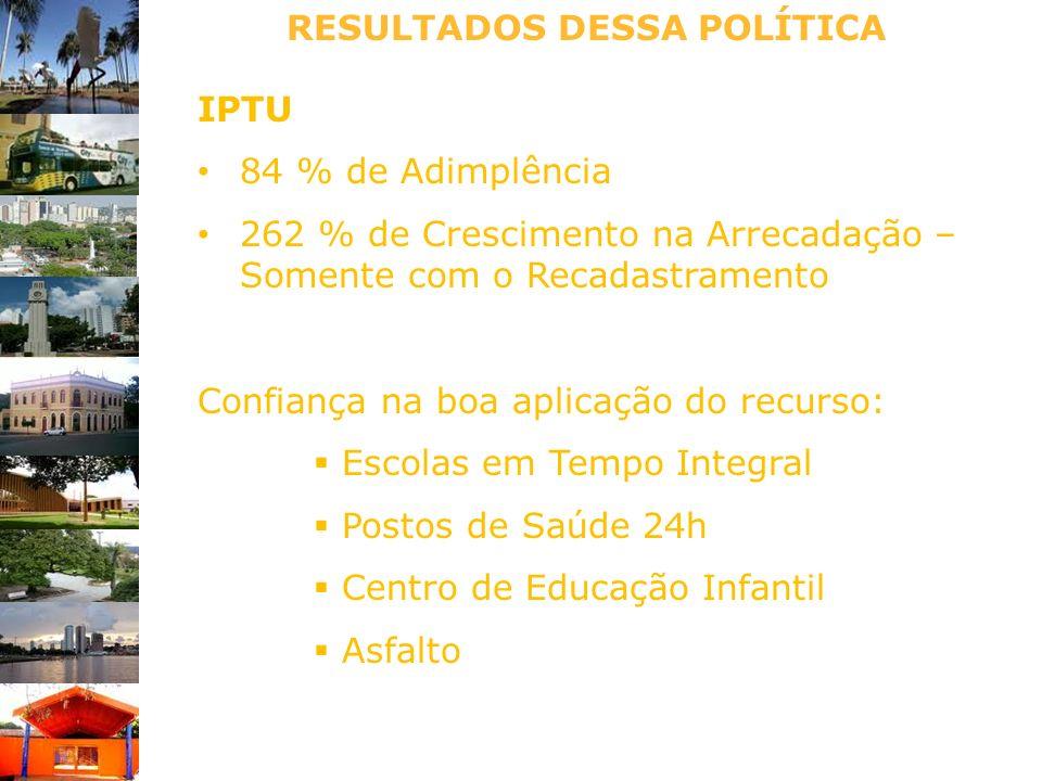 RESULTADOS DESSA POLÍTICA IPTU 84 % de Adimplência 262 % de Crescimento na Arrecadação – Somente com o Recadastramento Confiança na boa aplicação do r