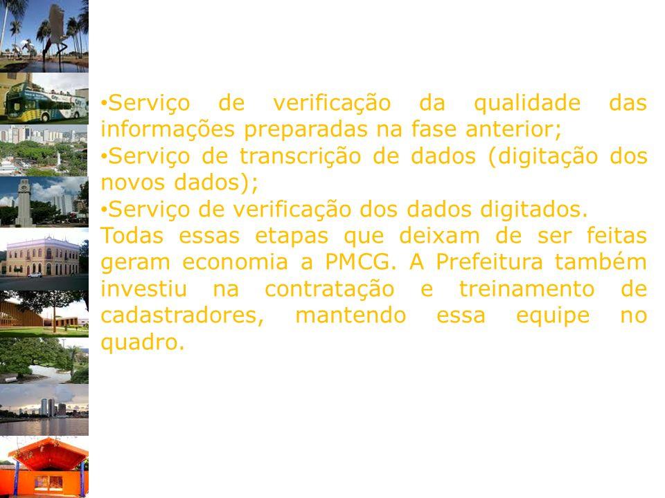 Serviço de verificação da qualidade das informações preparadas na fase anterior; Serviço de transcrição de dados (digitação dos novos dados); Serviço
