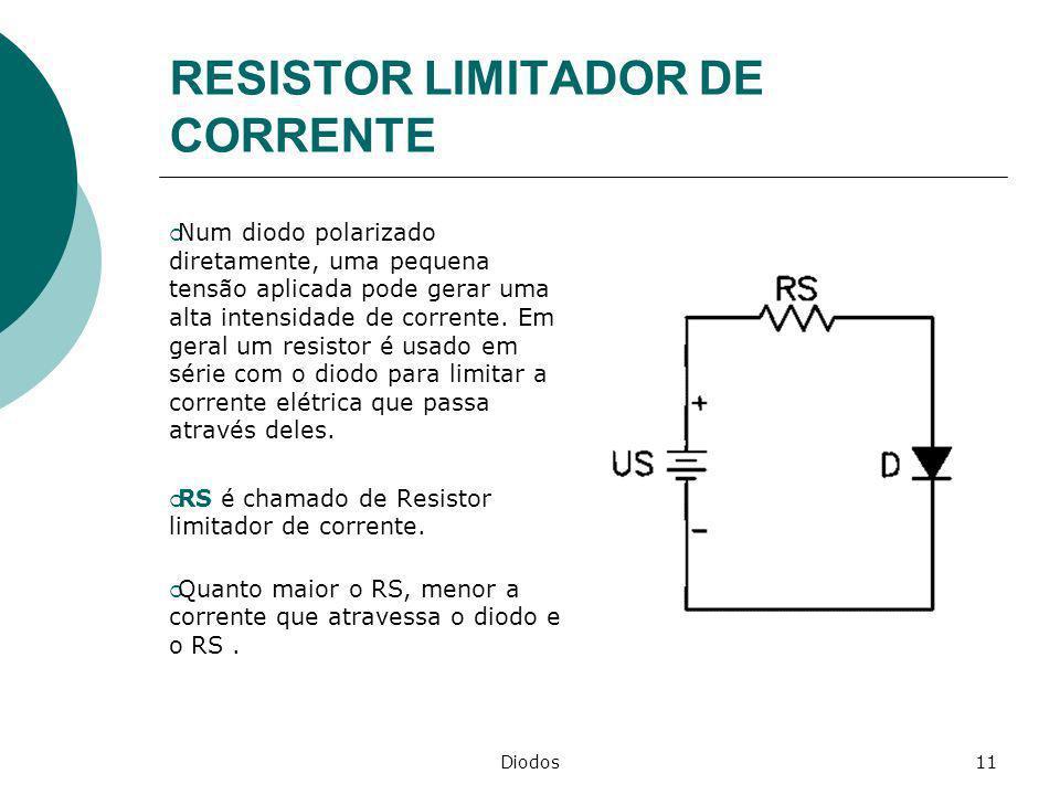 Diodos11 RESISTOR LIMITADOR DE CORRENTE Num diodo polarizado diretamente, uma pequena tensão aplicada pode gerar uma alta intensidade de corrente. Em