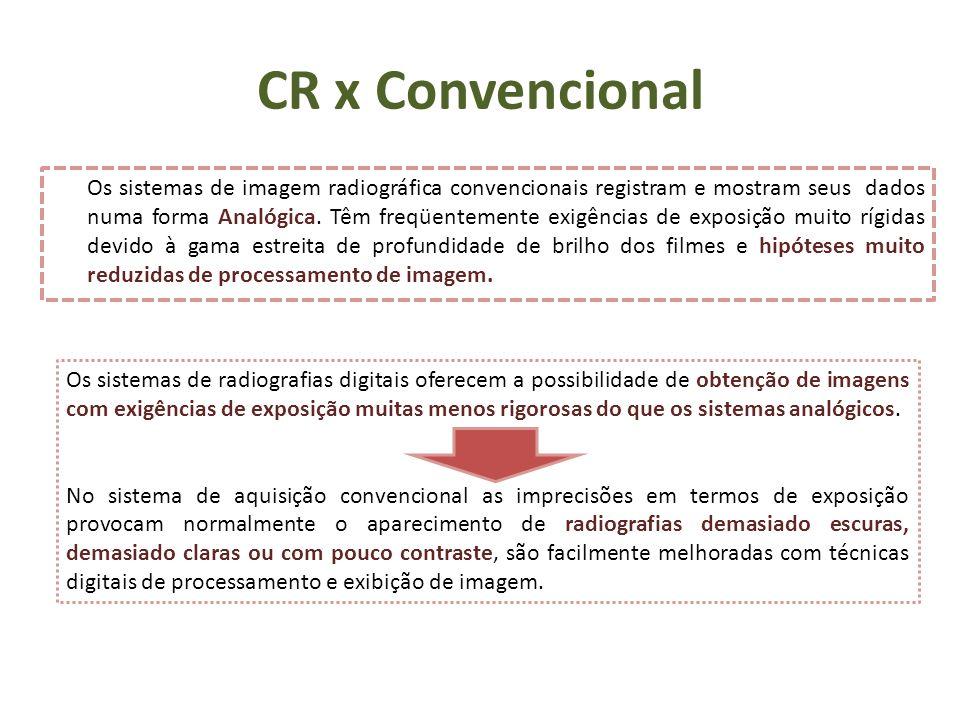 CR x Convencional Os sistemas de imagem radiográfica convencionais registram e mostram seus dados numa forma Analógica. Têm freqüentemente exigências