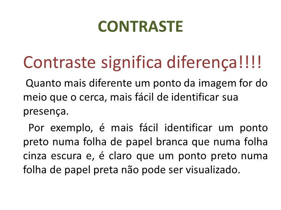 CONTRASTE Contraste significa diferença!!!! Quanto mais diferente um ponto da imagem for do meio que o cerca, mais fácil de identificar sua presença.