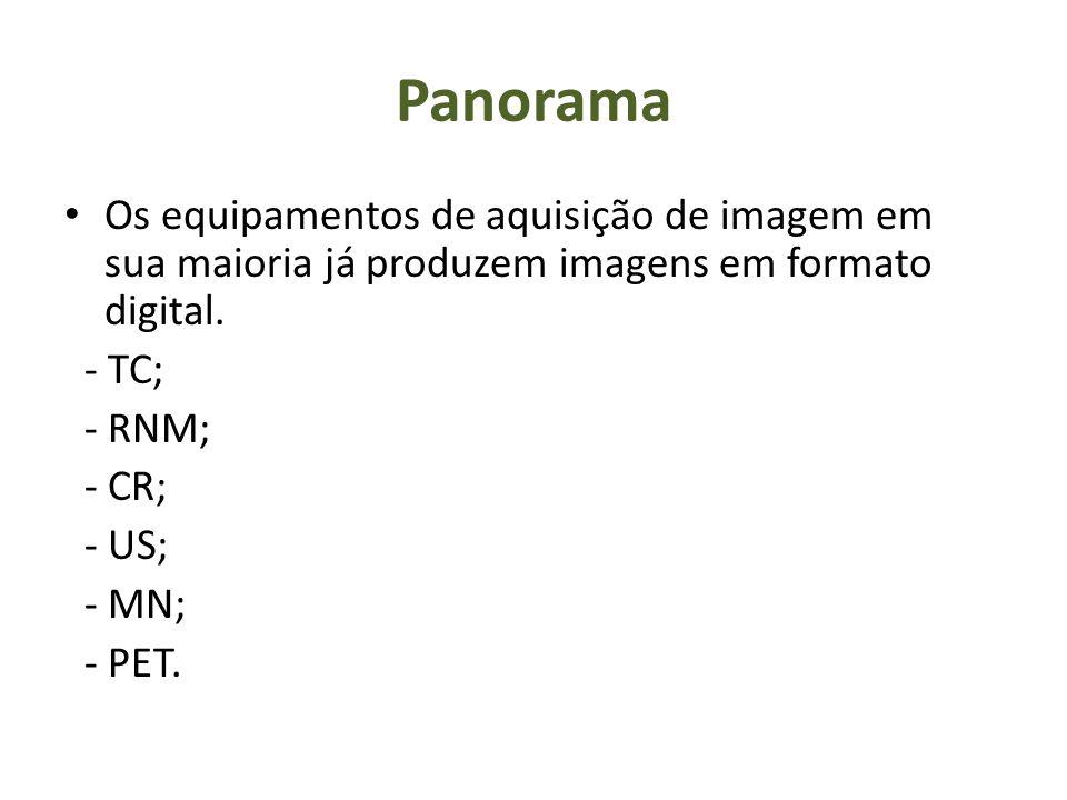 Panorama Os equipamentos de aquisição de imagem em sua maioria já produzem imagens em formato digital. - TC; - RNM; - CR; - US; - MN; - PET.