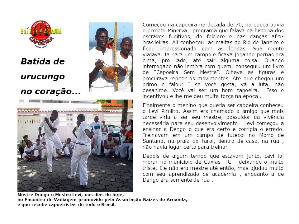 A Associação de Capoeira Raízes de Aruanda neste ano de 2006 tem projetos como o Ginga Educativa/Dutambô – levando aulas de capoeira, percussão e confecção de instrumentos aos alunos das escolas municipais (aguardando aprovação), a criação de um Núcleo de Dança Afro e Percussão da instituição para apresentações externas, a criação de uma biblioteca afro-brasileira para pesquisa e reforço à Lei 10639 que institui a inclusão do ensino de História Afro-Brasileira nas escolas da rede, a estruturação de sua Divisão Cultural e a ampliação de sua sede.