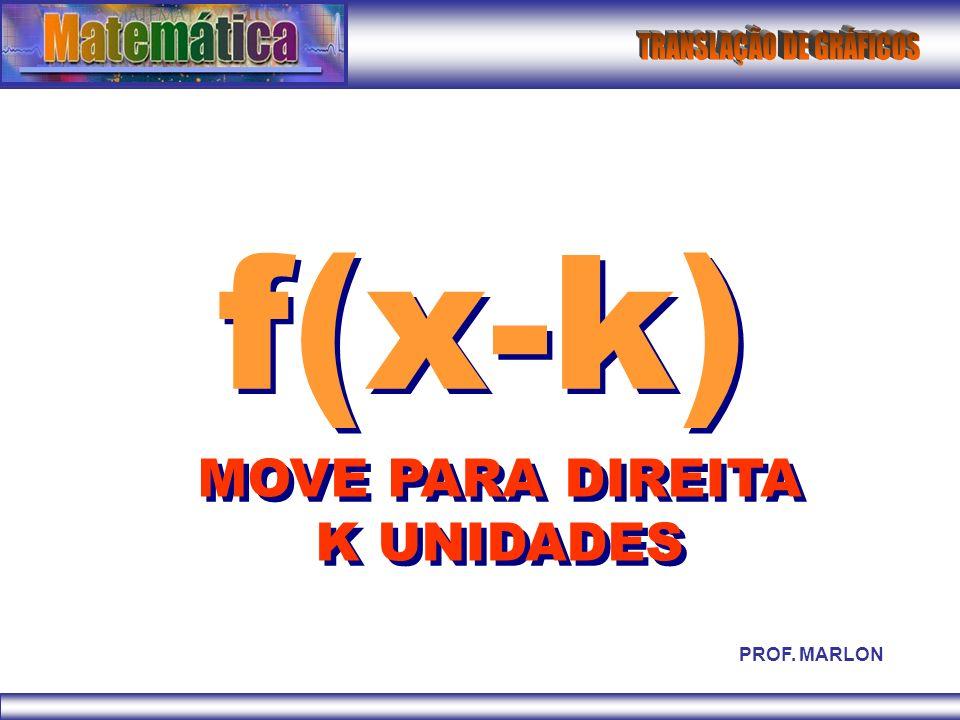 f(x-k) MOVE PARA DIREITA K UNIDADES PROF. MARLON