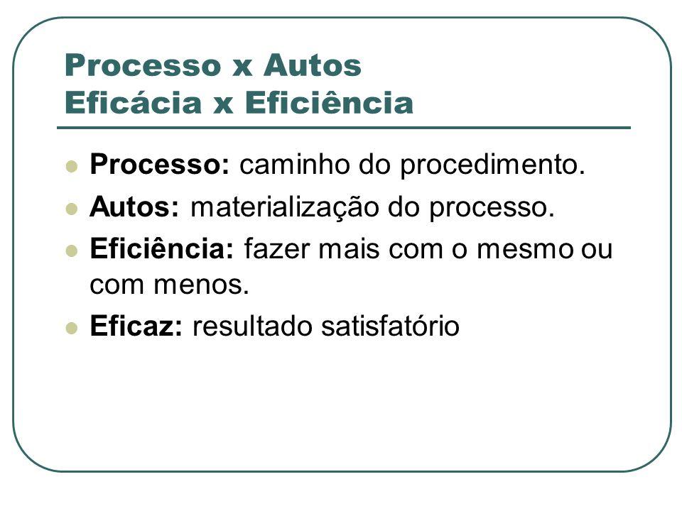 Processo x Autos Eficácia x Eficiência Processo: caminho do procedimento. Autos: materialização do processo. Eficiência: fazer mais com o mesmo ou com