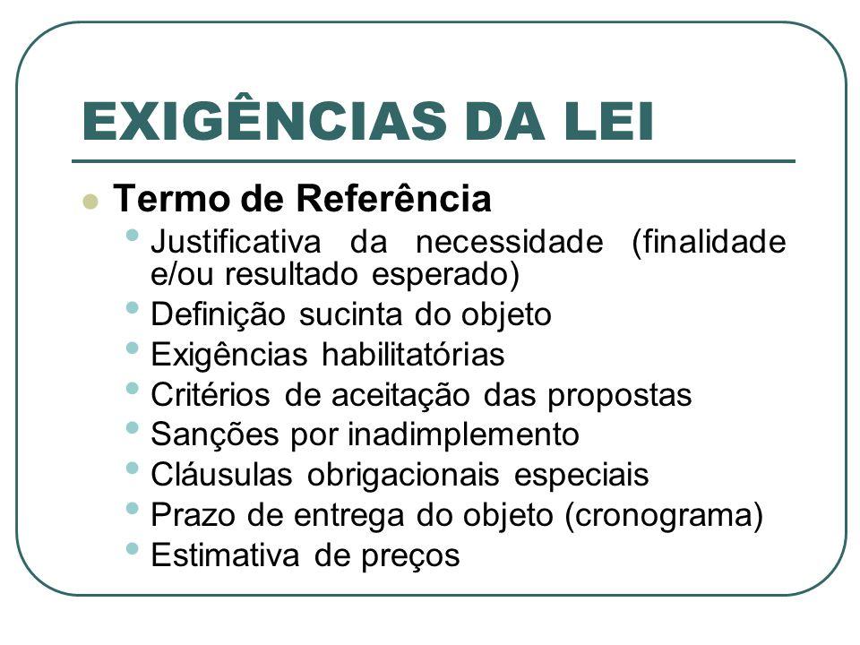 EXIGÊNCIAS DA LEI Termo de Referência Justificativa da necessidade (finalidade e/ou resultado esperado) Definição sucinta do objeto Exigências habilit