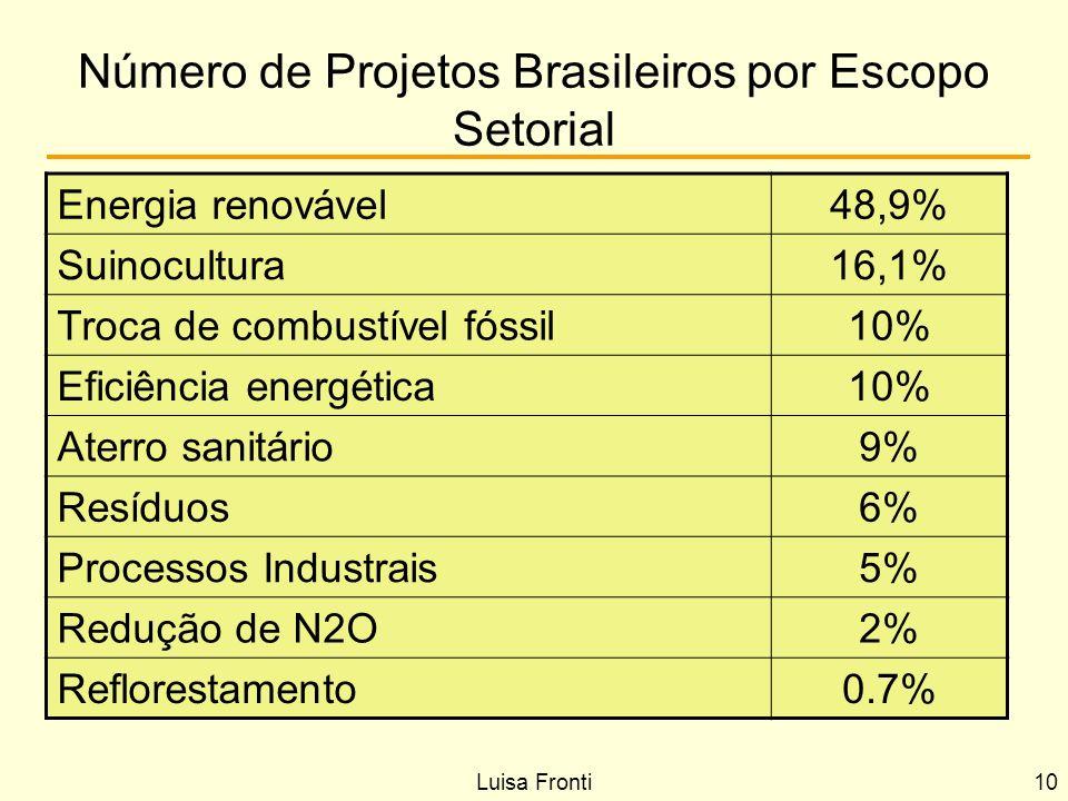 Número de Projetos Brasileiros por Escopo Setorial Energia renovável48,9% Suinocultura16,1% Troca de combustível fóssil10% Eficiência energética10% At