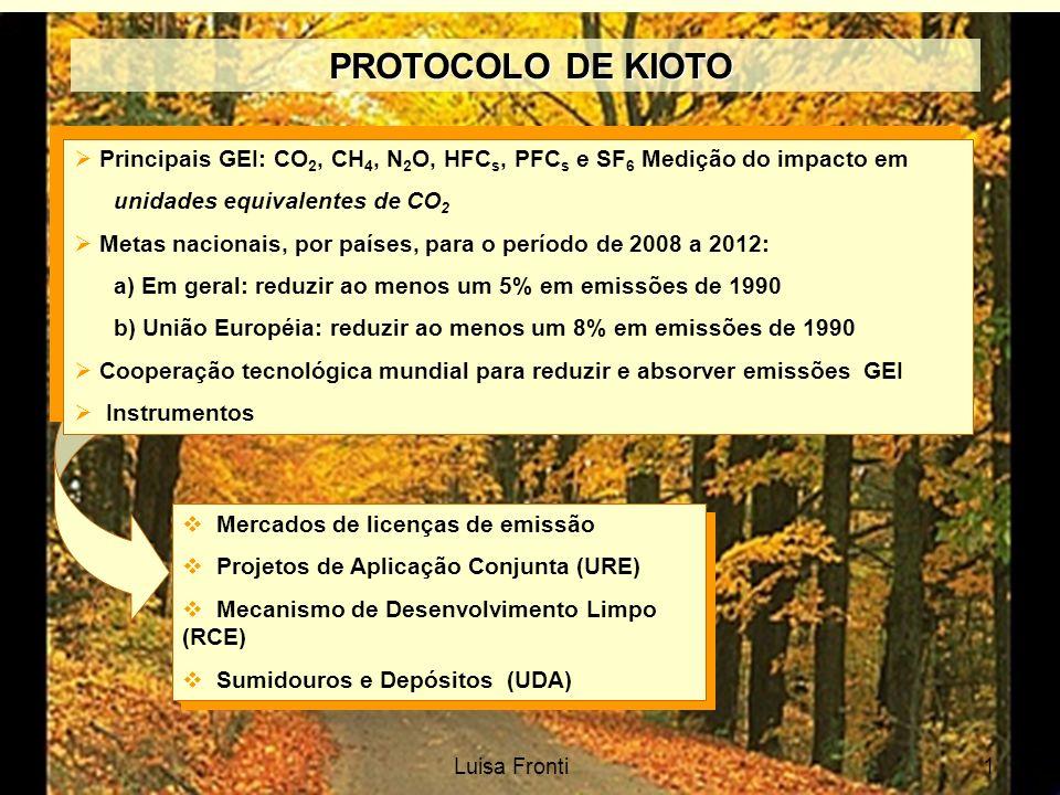 PROTOCOLO DE KIOTO PROTOCOLO DE KIOTO Principais GEI: CO 2, CH 4, N 2 O, HFC s, PFC s e SF 6 Medição do impacto em unidades equivalentes de CO 2 Metas