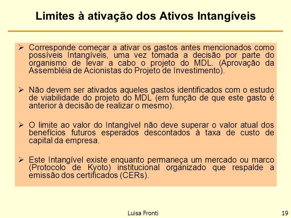 Limites à ativação dos Ativos Intangíveis Corresponde começar a ativar os gastos antes mencionados como possíveis Intangíveis, uma vez tomada a decisã