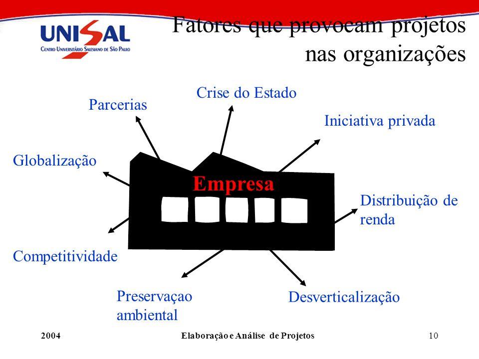 2004Elaboração e Análise de Projetos10 Fatores que provocam projetos nas organizações Parcerias Globalização Crise do Estado Iniciativa privada Compet