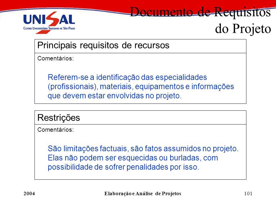 2004Elaboração e Análise de Projetos101 Documento de Requisitos do Projeto Principais requisitos de recursos Comentários: Referem-se a identificação d