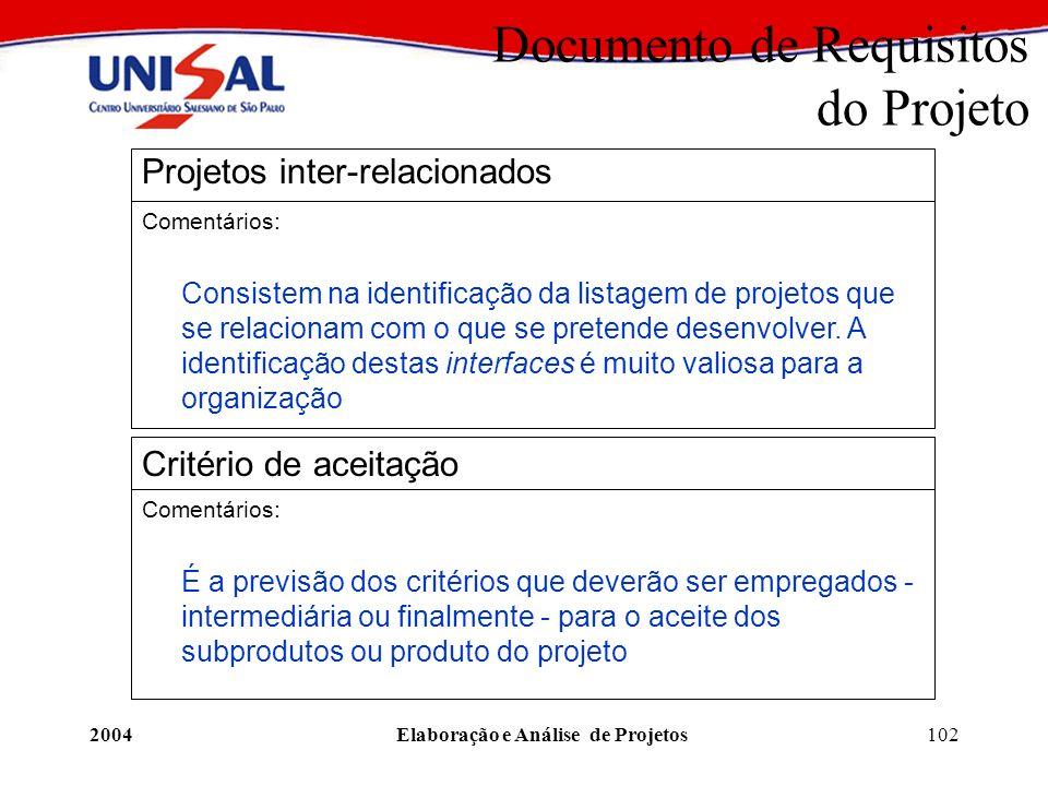 2004Elaboração e Análise de Projetos102 Documento de Requisitos do Projeto Projetos inter-relacionados Comentários: Consistem na identificação da list