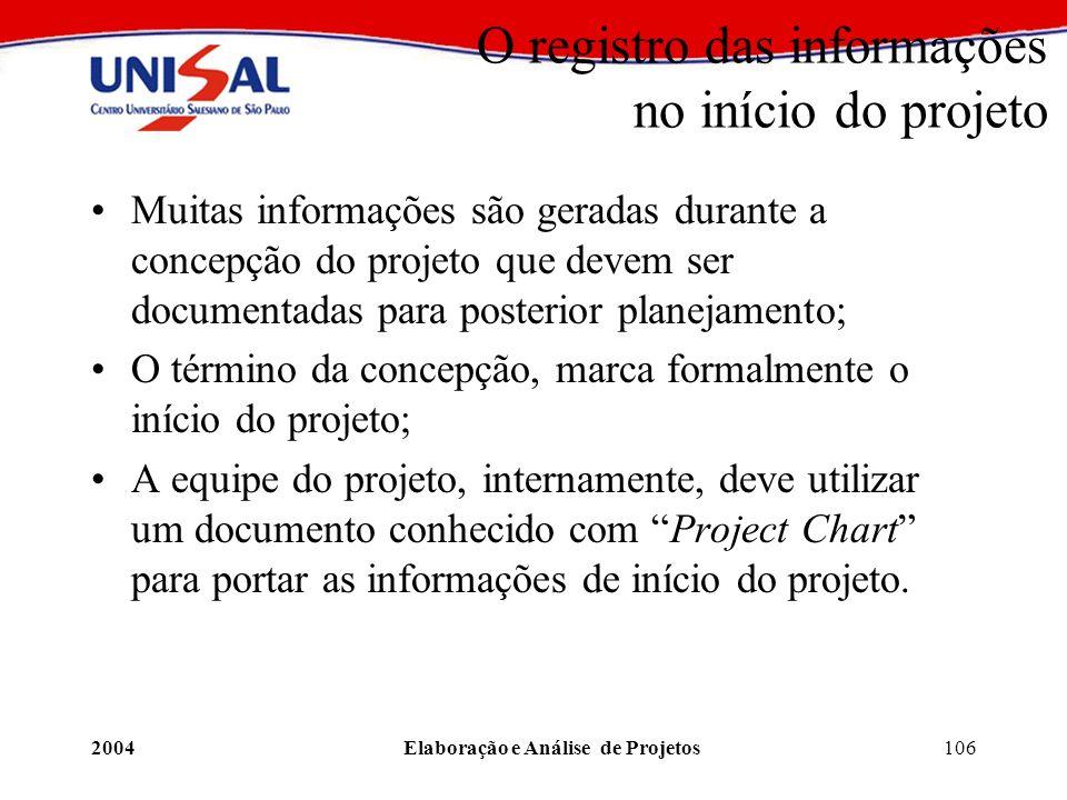 2004Elaboração e Análise de Projetos106 O registro das informações no início do projeto Muitas informações são geradas durante a concepção do projeto