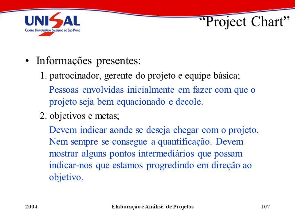 2004Elaboração e Análise de Projetos107 Project Chart Informações presentes: 1. patrocinador, gerente do projeto e equipe básica; Pessoas envolvidas i