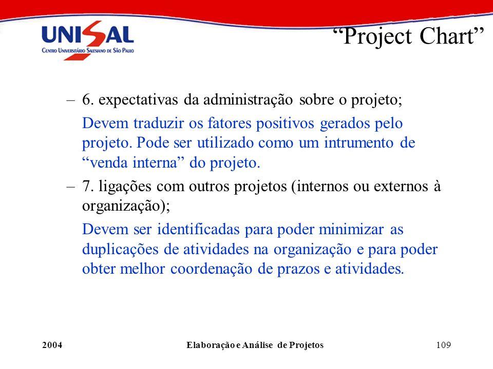 2004Elaboração e Análise de Projetos109 Project Chart –6. expectativas da administração sobre o projeto; Devem traduzir os fatores positivos gerados p