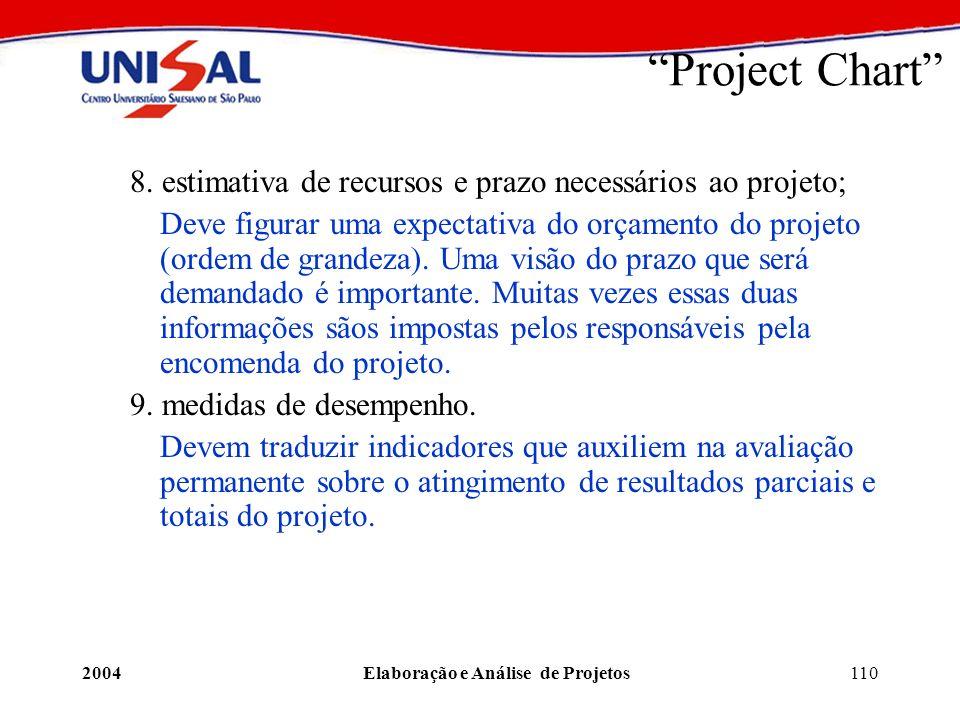 2004Elaboração e Análise de Projetos110 Project Chart 8. estimativa de recursos e prazo necessários ao projeto; Deve figurar uma expectativa do orçame