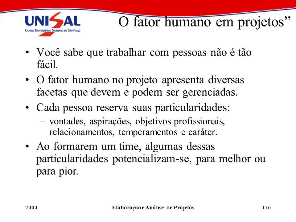 2004Elaboração e Análise de Projetos116 O fator humano em projetos Você sabe que trabalhar com pessoas não é tão fácil. O fator humano no projeto apre
