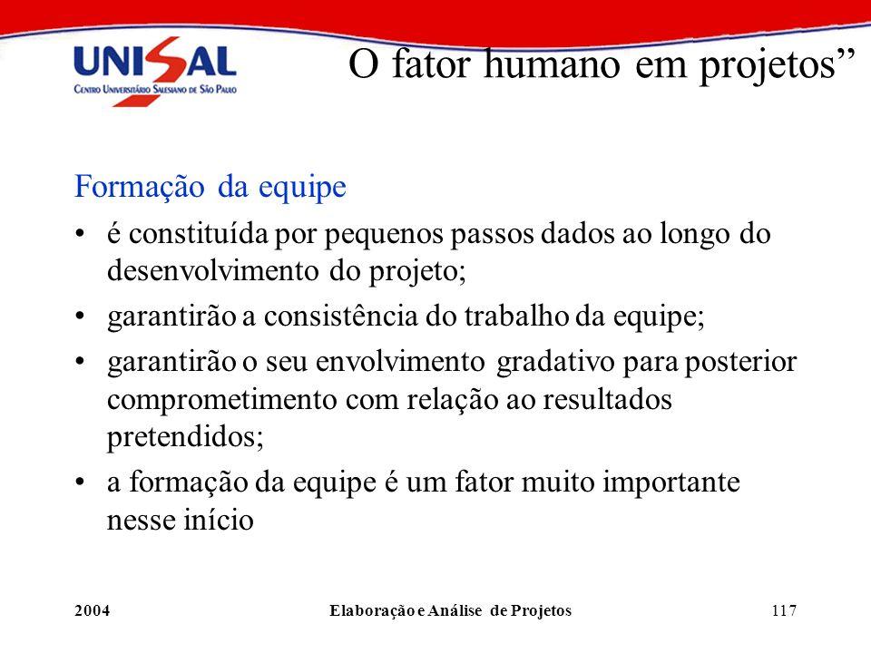 2004Elaboração e Análise de Projetos117 O fator humano em projetos Formação da equipe é constituída por pequenos passos dados ao longo do desenvolvime