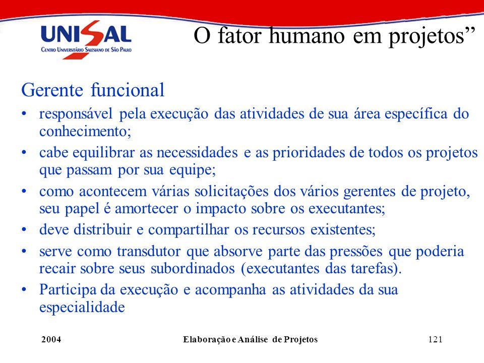 2004Elaboração e Análise de Projetos121 O fator humano em projetos Gerente funcional responsável pela execução das atividades de sua área específica d