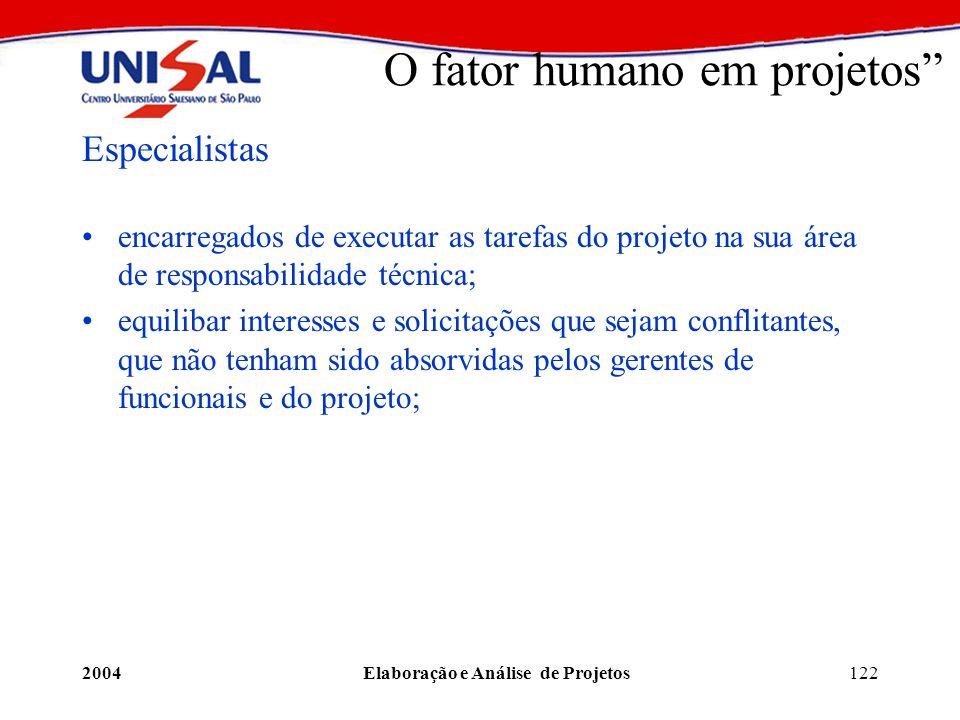 2004Elaboração e Análise de Projetos122 O fator humano em projetos Especialistas encarregados de executar as tarefas do projeto na sua área de respons