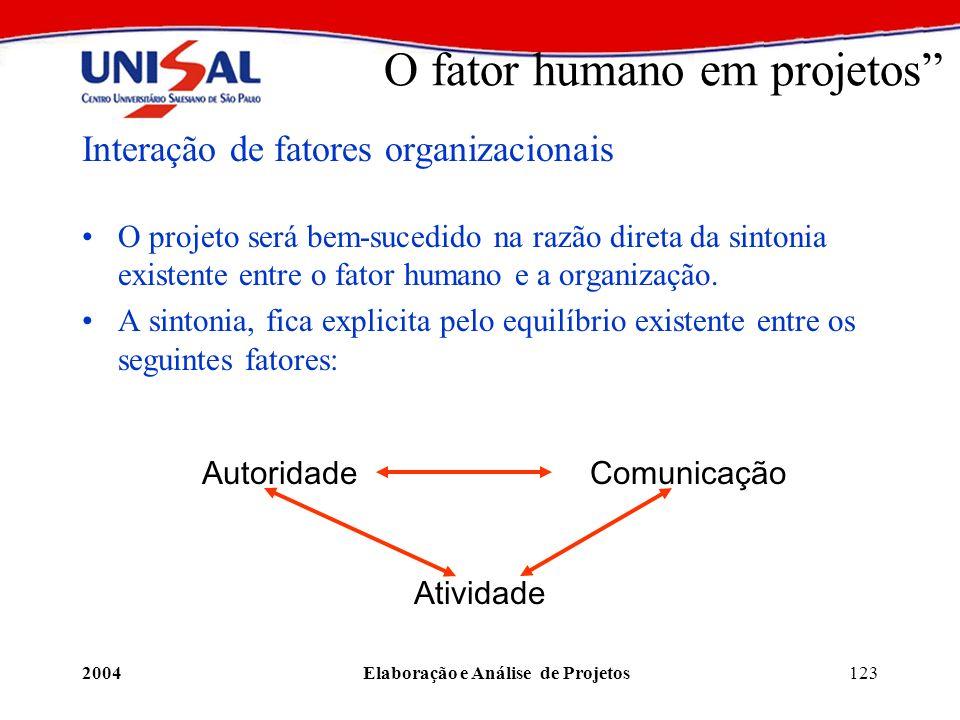 2004Elaboração e Análise de Projetos123 O fator humano em projetos Interação de fatores organizacionais O projeto será bem-sucedido na razão direta da