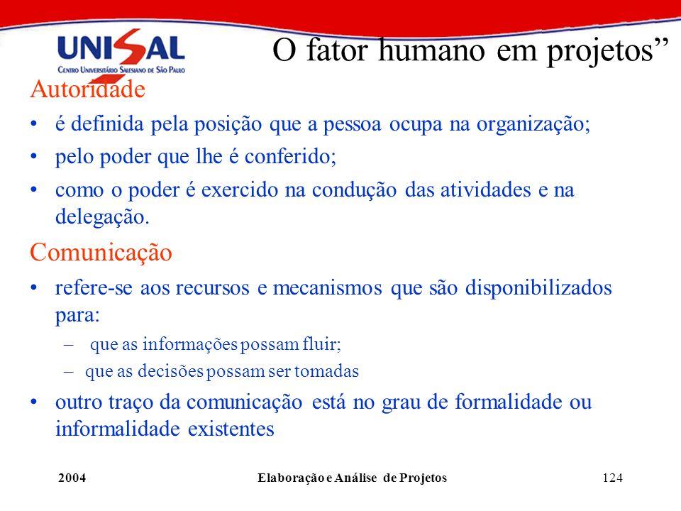 2004Elaboração e Análise de Projetos124 O fator humano em projetos Autoridade é definida pela posição que a pessoa ocupa na organização; pelo poder qu