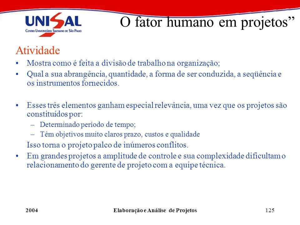 2004Elaboração e Análise de Projetos125 O fator humano em projetos Atividade Mostra como é feita a divisão de trabalho na organização; Qual a sua abra