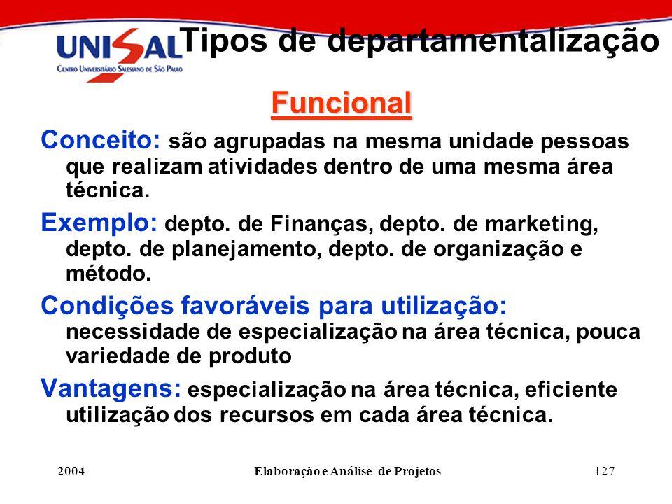 2004Elaboração e Análise de Projetos127 Tipos de departamentalização Funcional Conceito: são agrupadas na mesma unidade pessoas que realizam atividade