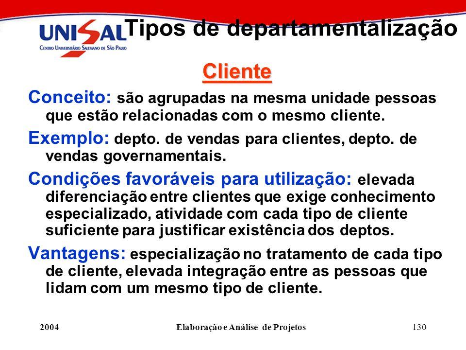 2004Elaboração e Análise de Projetos130 Tipos de departamentalização Cliente Conceito: são agrupadas na mesma unidade pessoas que estão relacionadas c