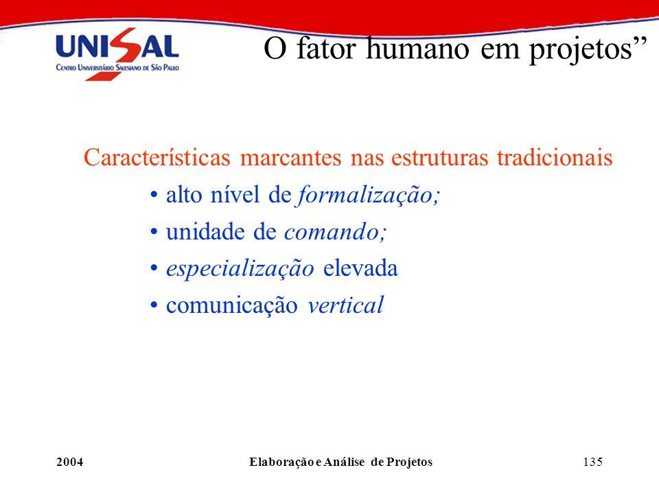 2004Elaboração e Análise de Projetos135 O fator humano em projetos Características marcantes nas estruturas tradicionais alto nível de formalização; u