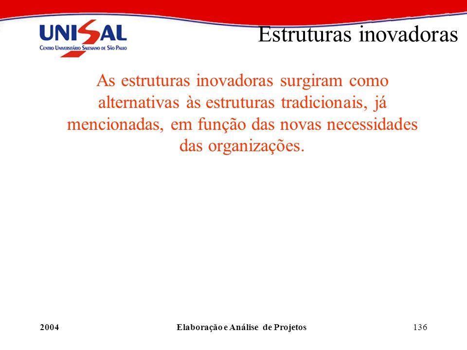 2004Elaboração e Análise de Projetos136 Estruturas inovadoras As estruturas inovadoras surgiram como alternativas às estruturas tradicionais, já menci