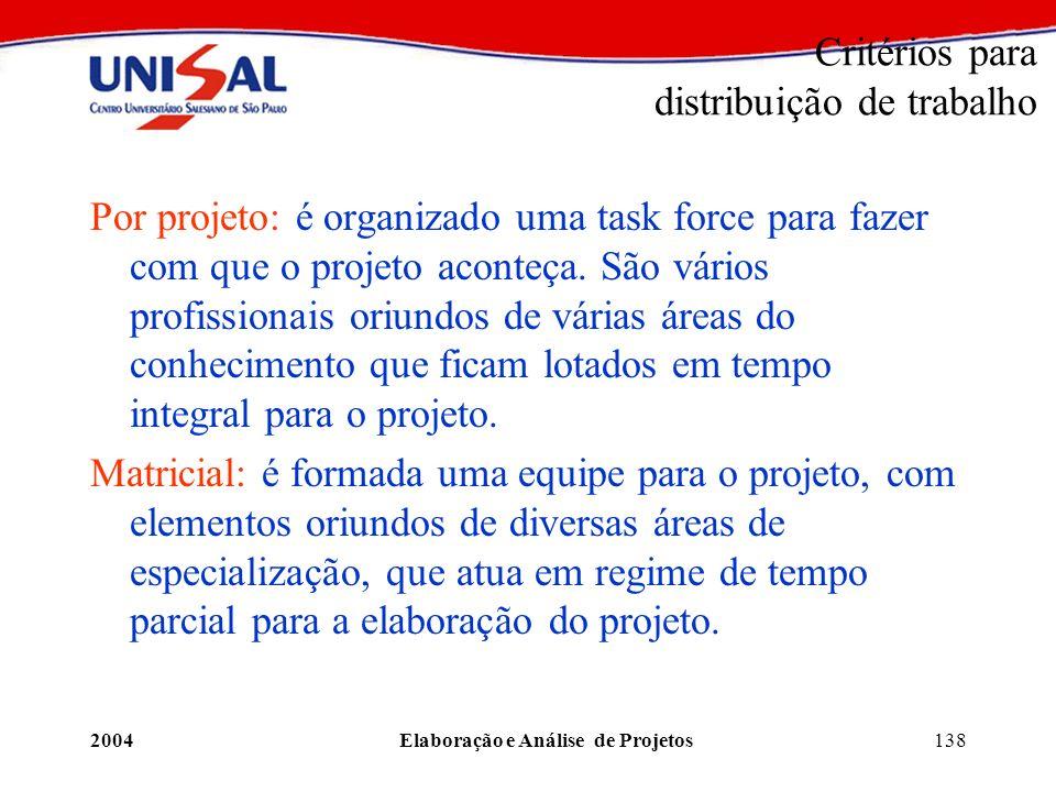 2004Elaboração e Análise de Projetos138 Critérios para distribuição de trabalho Por projeto: é organizado uma task force para fazer com que o projeto