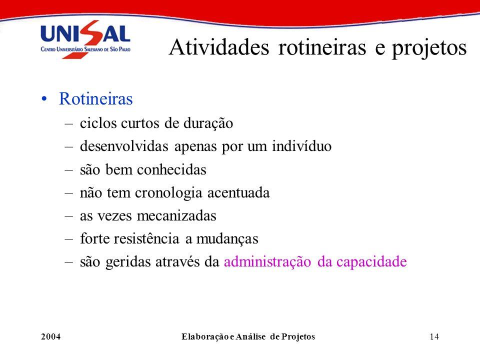2004Elaboração e Análise de Projetos14 Atividades rotineiras e projetos Rotineiras –ciclos curtos de duração –desenvolvidas apenas por um indivíduo –s