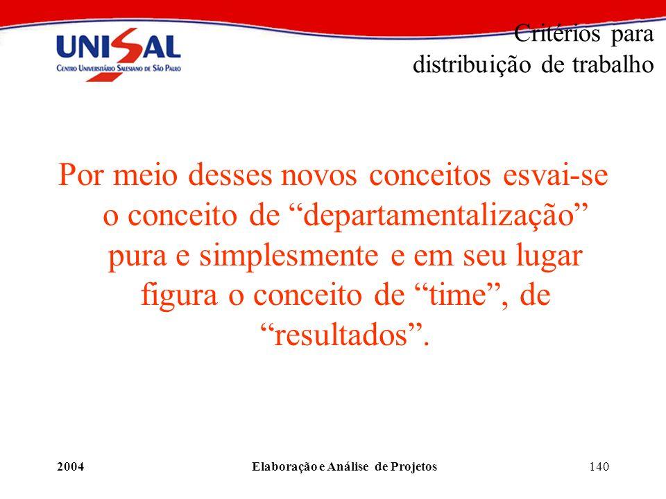 2004Elaboração e Análise de Projetos140 Critérios para distribuição de trabalho Por meio desses novos conceitos esvai-se o conceito de departamentaliz
