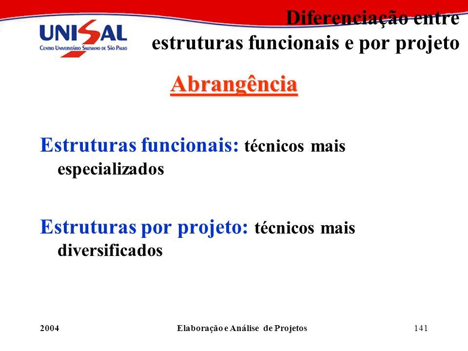 2004Elaboração e Análise de Projetos141 Diferenciação entre estruturas funcionais e por projeto Abrangência Estruturas funcionais: técnicos mais espec