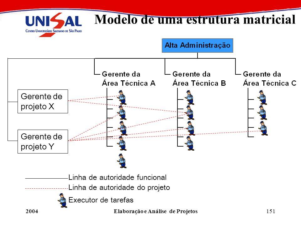 2004Elaboração e Análise de Projetos151 Modelo de uma estrutura matricial Gerente de projeto X Gerente de projeto Y Linha de autoridade funcional Linh