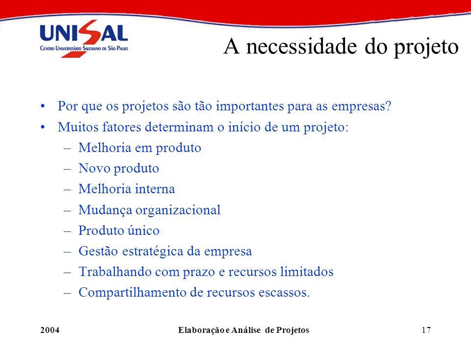 2004Elaboração e Análise de Projetos17 A necessidade do projeto Por que os projetos são tão importantes para as empresas? Muitos fatores determinam o