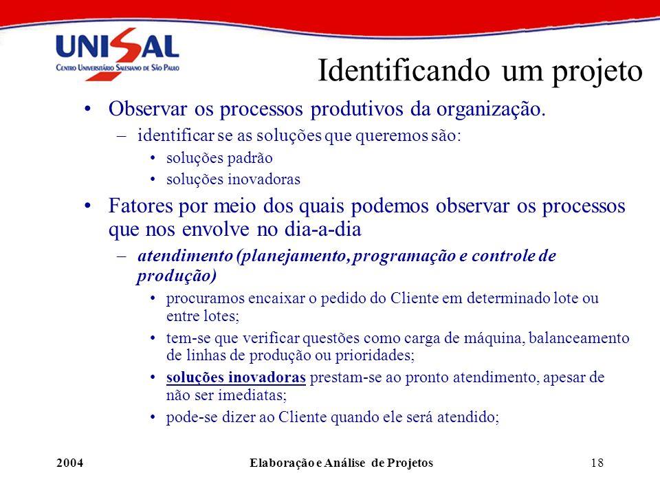 2004Elaboração e Análise de Projetos18 Identificando um projeto Observar os processos produtivos da organização. –identificar se as soluções que quere