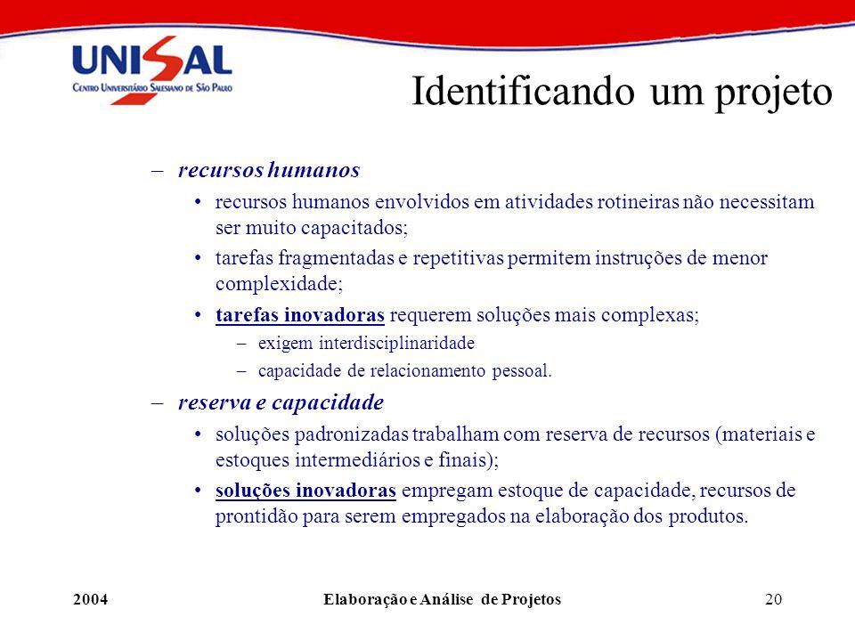 2004Elaboração e Análise de Projetos20 Identificando um projeto –recursos humanos recursos humanos envolvidos em atividades rotineiras não necessitam