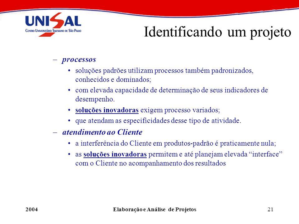 2004Elaboração e Análise de Projetos21 Identificando um projeto –processos soluções padrões utilizam processos também padronizados, conhecidos e domin